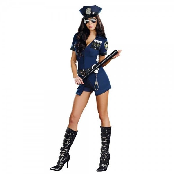 Adult Policewoman Costume Dirty Cop Halloween Fancy Dress Navy