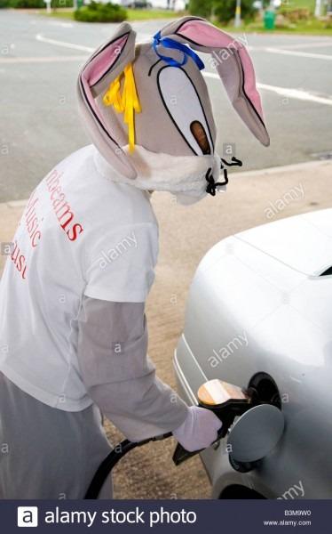 Animal Mascot Bugs Bunny Rabbit Costume, Woman (mr) Refuelling