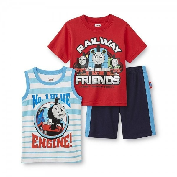 Boys Thomas The Train 3pc Outfit Shirt & Shorts Set New With Tags