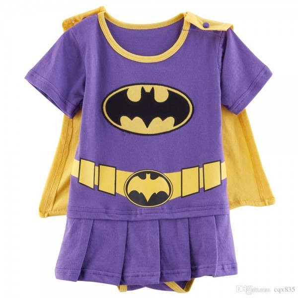 2019 Baby Girl Batgirl Costume Party Romper Infant Dress With Cape