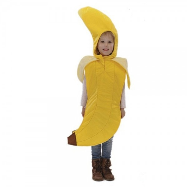 Banana Costume For Children With Hood Boys Girls Fruit Fancy Dress