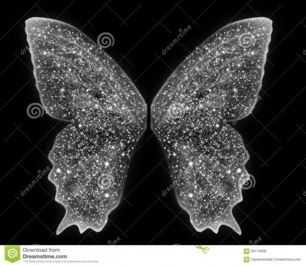 Beautiful Sparkle Fairy Angel Wings Overlay On Black Stock Photo