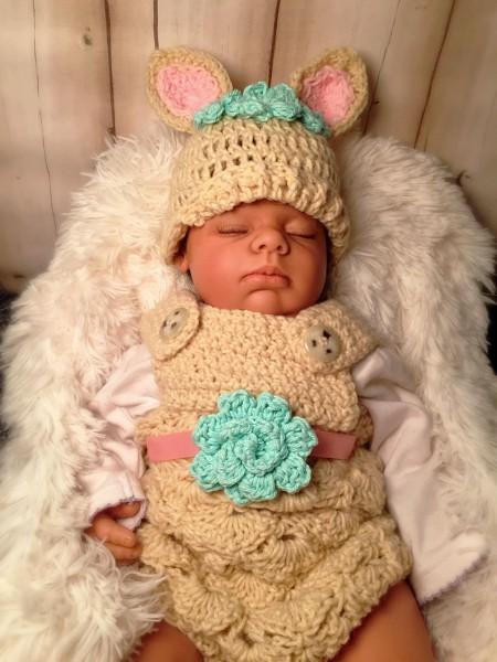 Crochet Deer Baby Hat With Matching Romper, Baby Photo Shoot