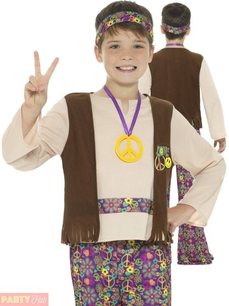 Boys Hippie Costume Childs Hippy 1960s 1970s Fancy Dress Kids Book