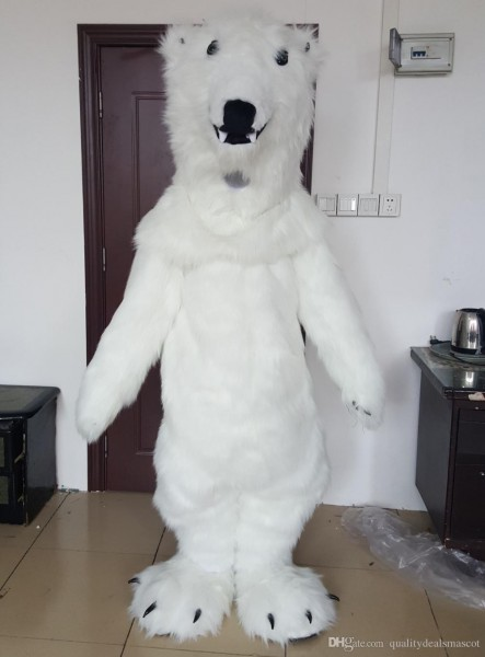 Brand New Realistic Furry White Polar Bear Mascot Costume For