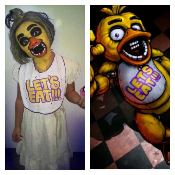Five Nights At Freddy's Face Paint Chica Costume Cosplay
