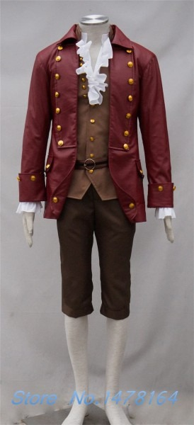Movie Beauty And The Beast Gaston Cosplay Costume Burgundy Jacket