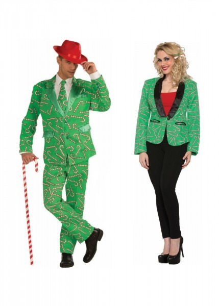 Candy Cane Men Costume And Candy Cane Blazer Women Couples
