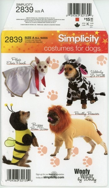 Simplicity 2839 Dog Costume Pattern Elvis Lion Bumble Bee And Cow