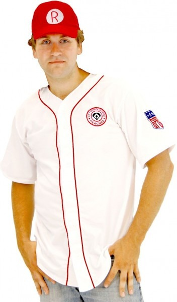 Rockford Peaches Aagpbl Baseball Mens Costume Jersey & Hat