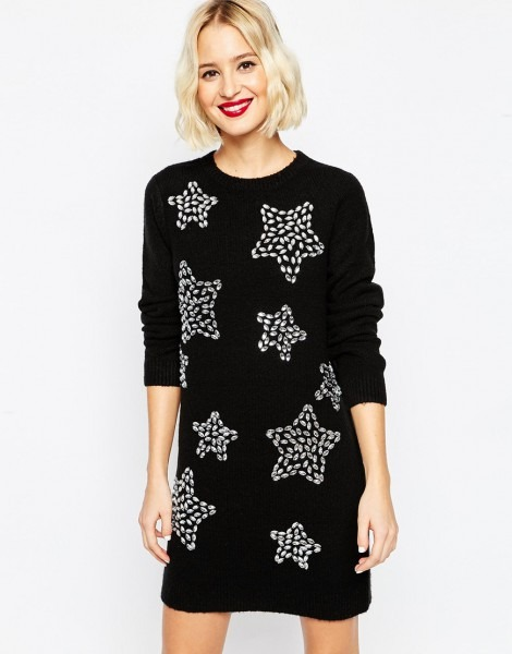 Christmas Jumper Dress With Embellished Stars At 739359