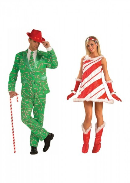 Christmas Candy Cane Men Costume And Candy Cane Jane Women Costume