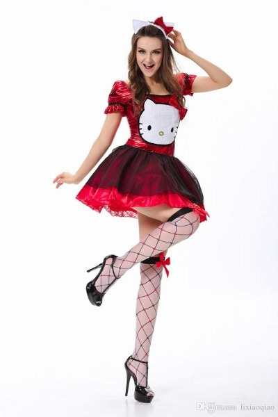 2019 Christmas Halloween Hello Kitty Kawaii Cat Sexy Costumes Club