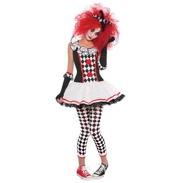 Classic Harley Quinn Costume Halloween Batman Clown Jester Cosplay