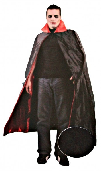 Satin Vampire Cape Black Red Deluxe 56 Inch Adult Mens Costume One