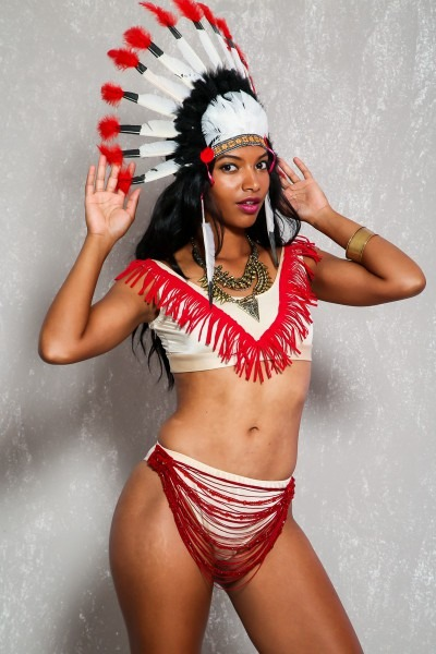 Sexy Beige Red Beaded Fringe Detail Indian 3pc Costume