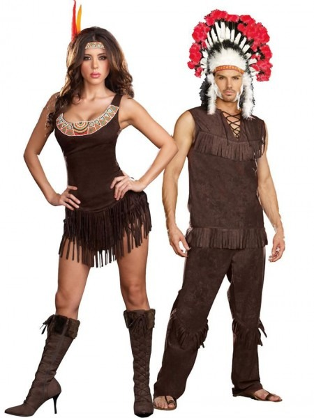 Sexy Indian Couples Halloween Costume, Indian Chief