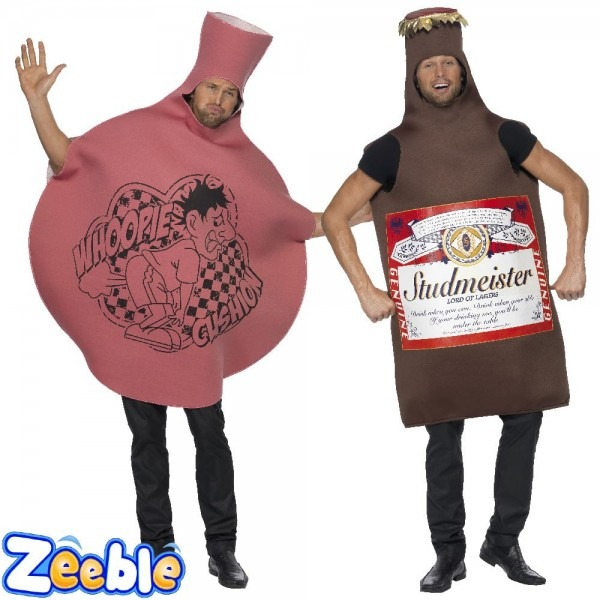 Adult Whoopie Cushion Costume Beer Fancy Dress 1980s Mens Stag