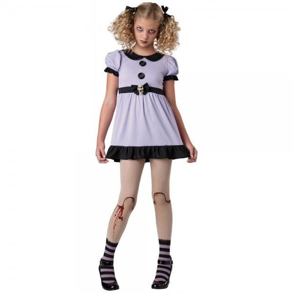 Creepy Doll Costume Tween Kids Dead Dolly Gothic & Scary Halloween