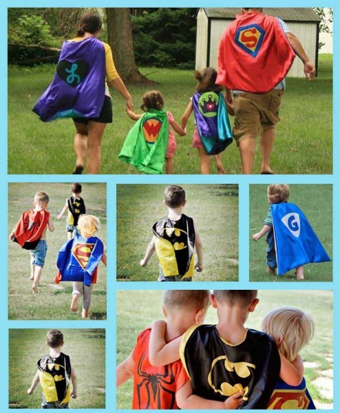 Kids Super Heros Batman Cape And Felt Mask Sets With Wristbands