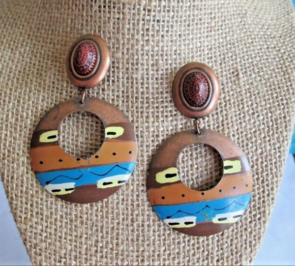 Vtg 70s Costume Jewelry Earrings Copper Ethnic Painted Tribal Post