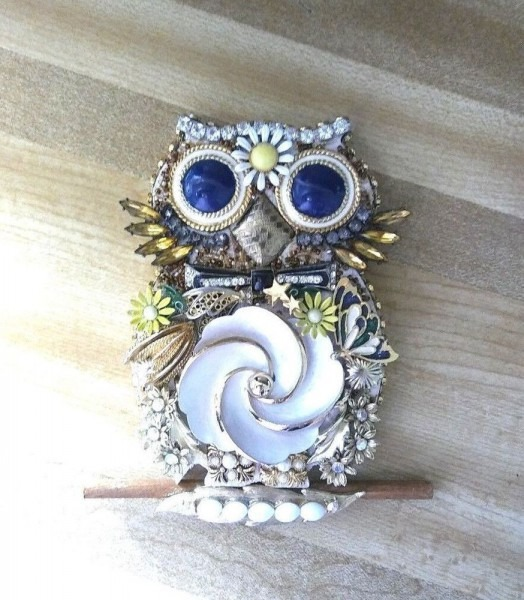 Collage Repurposed Vintage Costume Jewelry Wall Art Owl  Vintage