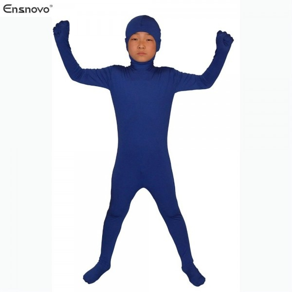 Ensnovo Open Face Zentai Suit Kids Nylon Lycra Tights Custom Skin