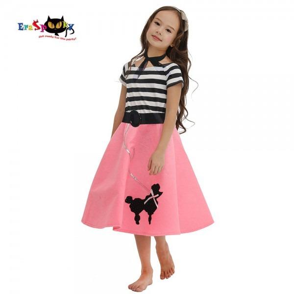 Eraspooky 50s Pink Girl's Poodle Skirt Dress Halloween Costume For