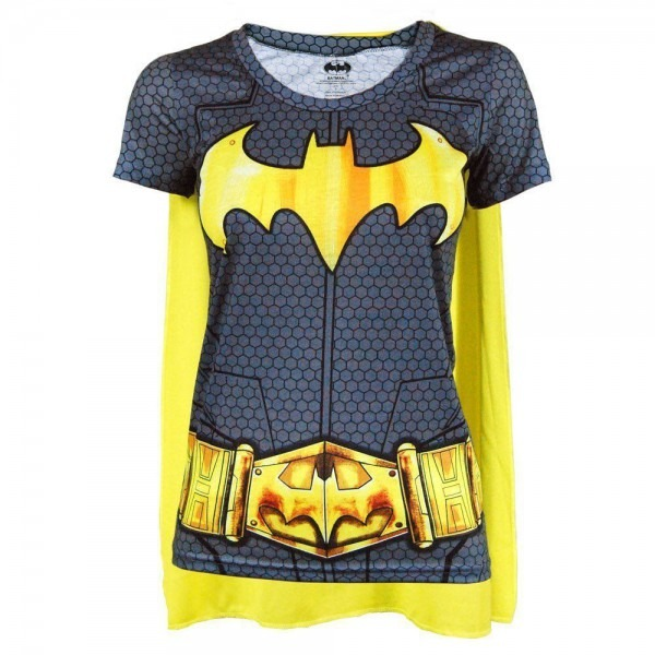 Womens Dc Comics Batman Superhero Costume T Shirt With Cape Black