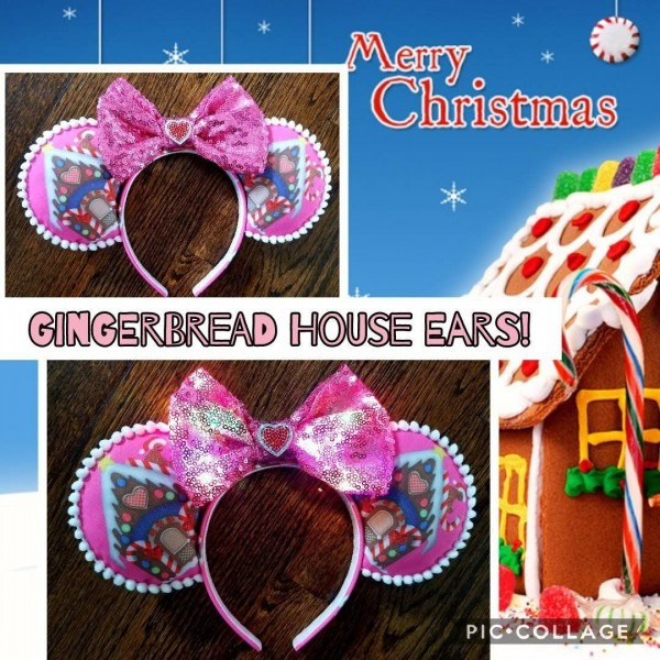 Gingerbread Minnie Ears Headband Candy Cane Print W  Pink Light Up