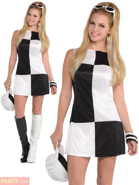 Ladies Mod Girl Costume Adult 60s 70s Go Go Fancy Dress Womens