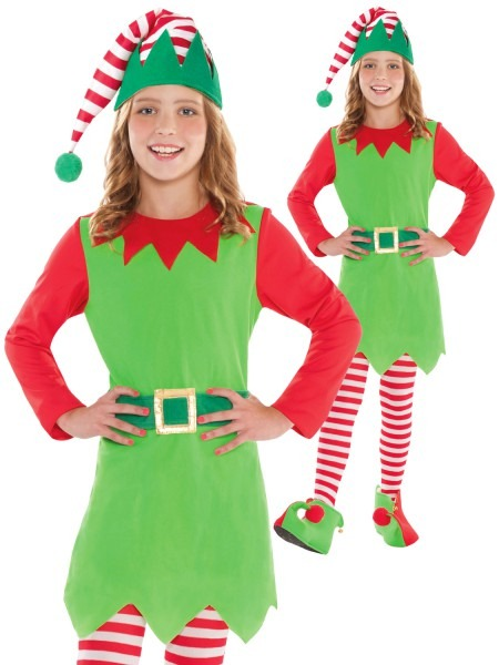 Girls Elf Costume Childs Christmas Fancy Dress Santas Helper Elves