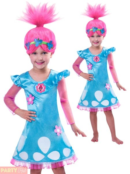 Girls Poppy Trolls Costume Childs Tv Film Book Week Fancy Dress