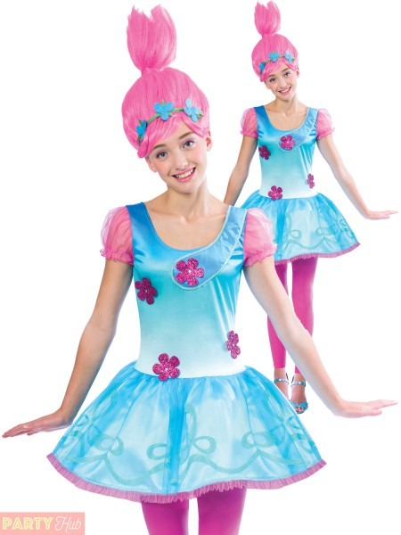 Girls Poppy Trolls Costume Childs Teen Tv Film Book Week Fancy