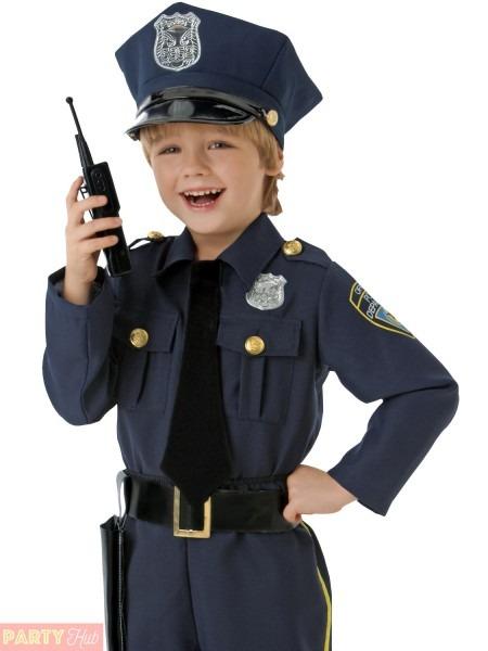 Boys Police Officer Costume Childrens Cop Fancy Dress Kids Uniform