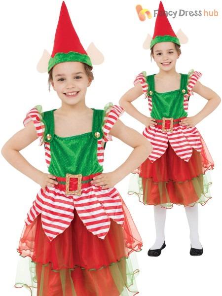 Girls Elf Costume Childs Christmas Fancy Dress Kids Santas Helper