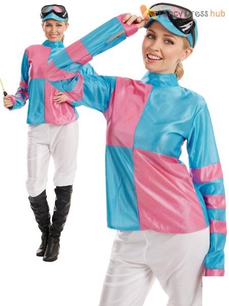 Ladies Jockey Costume Adults Horse Rider Racer Fancy Dress Womens