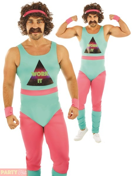 80s Fitness Instructor Mens Fancy Dress Neon Aerobics Sports