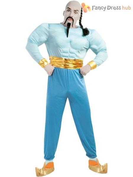 Mens Genie Costume Adults Aladdin Arabian Bollywood Fancy Dress Tv