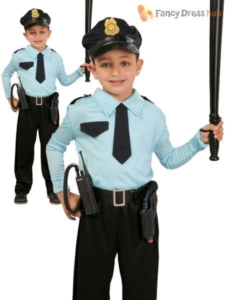 Boys Police Officer Costume Childs Cop Fancy Dress Kids Uniform