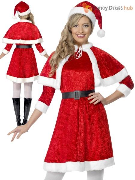 Ladies Miss Santa Christmas Fancy Dress Costume Mrs Claus Womens