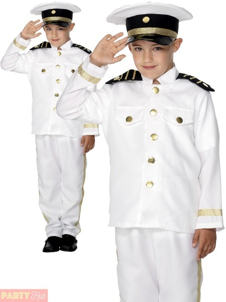Boys Sailor Captain Costume Child Marine Navy Officer Fancy Dress