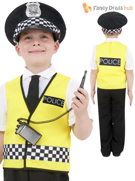 Kids Policeman Costume + Radio Set Boys Police Uniform Childrens