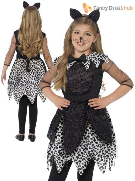 Girls Deluxe Black Cat Glittery Halloween Costume Kids Child Fancy