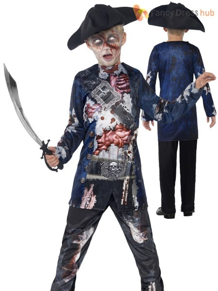 Deluxe Boys Zombie Pirate Costume Halloween Fancy Dress Party Kids