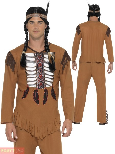 Mens Native American Warrior Red Indian Costume Adult Fancy Dress