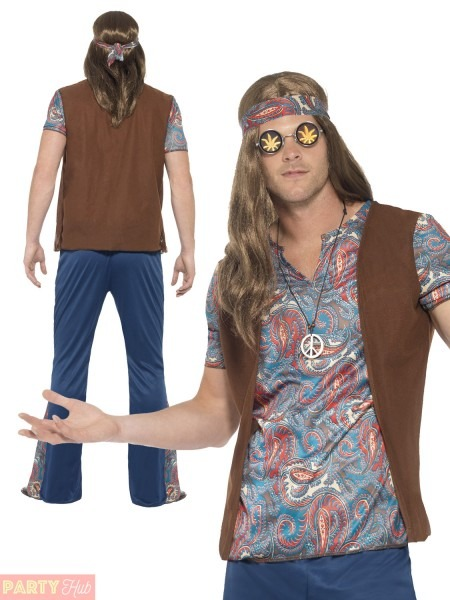 Adults Orion The Hippie Costume Mens 1960s 1970s Hippy Fancy Dress