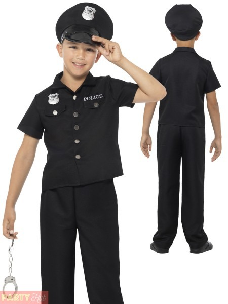 Boys Policeman Costume New York Cop Kids Police Officer Fancy