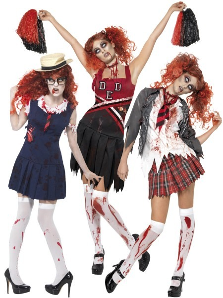 Adult Ladies Zombie School Girl Cheerleader Womens Halloween Fancy