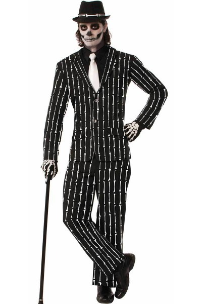 Male Skeleton Costume With Black Coat And Matching Pants Sporting
